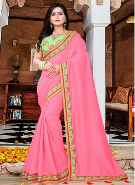 Hot Pink and Mint Green Designer Contemporary Style Saree