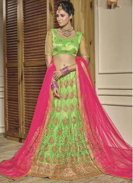 Hot Pink and Mint Green Net A - Line Lehenga
