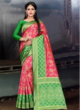 Hot Pink and Mint Green Thread Work Designer Contemporary Saree