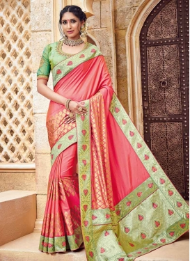 Hot Pink and Mint Green Trendy Classic Saree For Festival