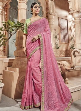 Hot Pink and Mint Green Trendy Saree