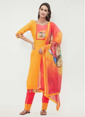 Hot Pink and Mustard Cotton Pant Style Classic Salwar Suit