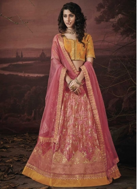 Hot Pink and Mustard Jacquard Silk Trendy A Line Lehenga Choli