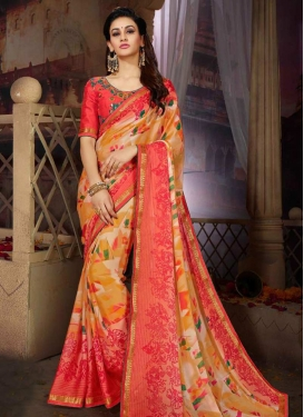 Hot Pink and Mustard Satin Georgette Contemporary Style Saree For Ceremonial
