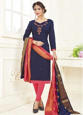 Hot Pink and Navy Blue Beads Work Churidar Salwar Suit