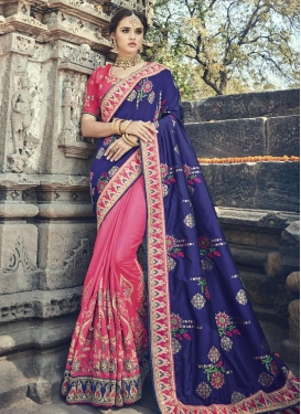 Hot Pink and Navy Blue Beads Work Half N Half Trendy Saree