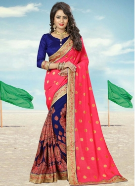 Hot Pink and Navy Blue Booti Work Designer Half N Half Saree