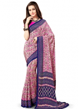 Hot Pink and Navy Blue Crepe Silk Contemporary Saree