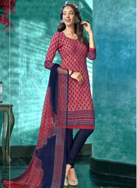 Hot Pink and Navy Blue Digital Print Work Churidar Suit