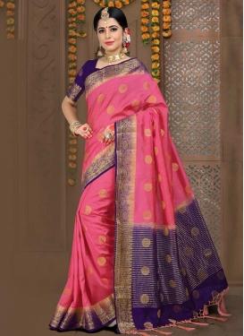 Hot Pink and Navy Blue Jacquard Silk Contemporary Saree