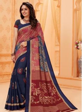 Hot Pink and Navy Blue Print Work Half N Half Trendy Saree