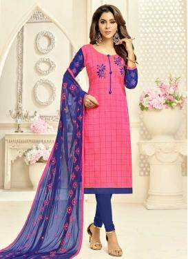 Hot Pink and Navy Blue Trendy Churidar Salwar Kameez