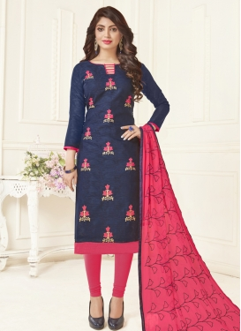 Hot Pink and Navy Blue Trendy Churidar Salwar Kameez For Casual