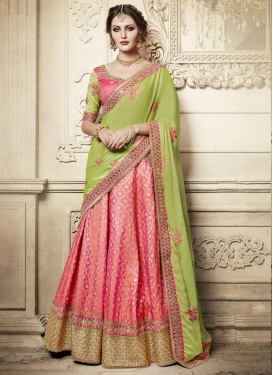 Hot Pink and Olive A - Line Lehenga
