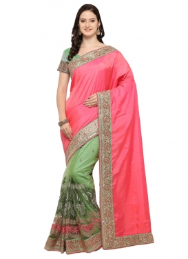 Hot Pink and Olive Designer Half N Half Saree For Party