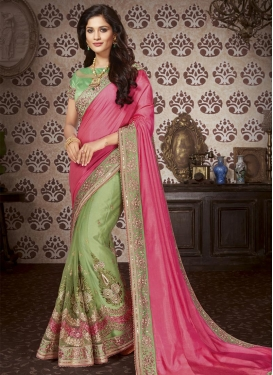 Hot Pink and Olive Half N Half Trendy Saree For Festival