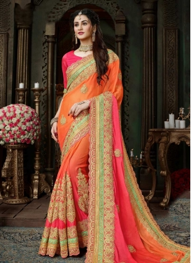 Hot Pink and Orange Booti Work Designer Contemporary Style Saree