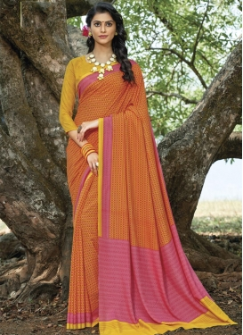 Hot Pink and Orange Contemporary Style Saree