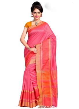Hot Pink and Orange Cotton Silk Contemporary Saree For Ceremonial