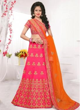 Hot Pink and Orange Embroidered Work Trendy Lehenga Choli