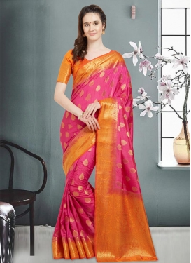 Hot Pink and Orange Thread Work Trendy Classic Saree