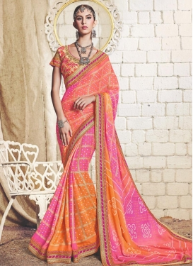 Hot Pink and Orange Trendy Classic Saree