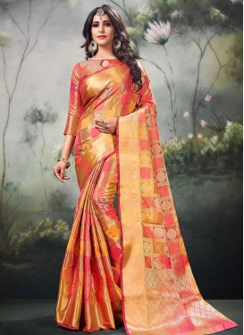 Hot Pink and Orange Trendy Saree For Festival