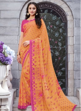 Hot Pink and Peach Contemporary Style Saree For Casual