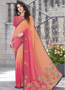 Hot Pink and Peach Faux Georgette Contemporary Style Saree