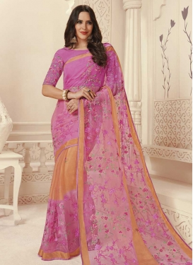 Hot Pink and Peach Traditional Saree For Ceremonial