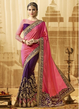 Hot Pink and Purple Art Silk Half N Half Saree