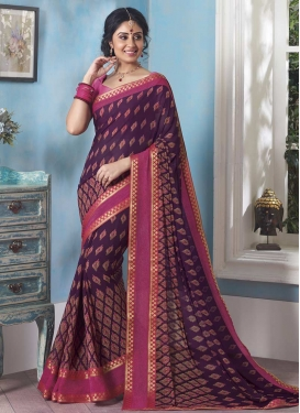 Hot Pink and Purple Lace Work Trendy Saree
