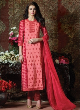 Hot Pink and Red Cotton Pant Style Pakistani Salwar Suit