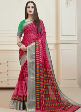 Hot Pink and Red Designer Contemporary Saree For Casual