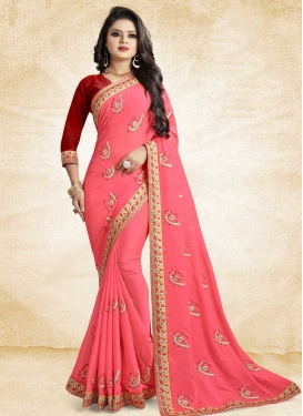 Hot Pink and Red Designer Contemporary Style Saree For Ceremonial