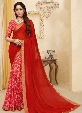 Hot Pink and Red Faux Georgette Half N Half Trendy Saree