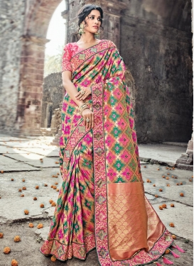 Hot Pink and Rose Pink Banarasi Silk Trendy Classic Saree For Bridal