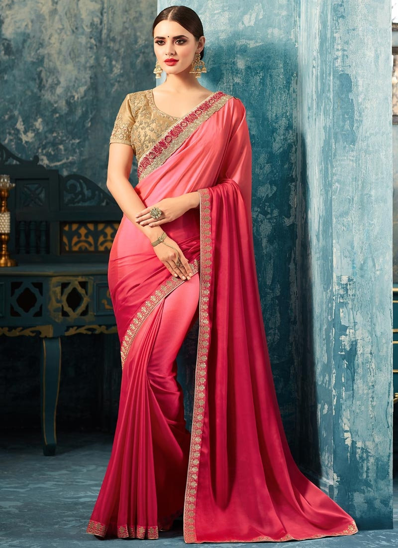 Hot Pink and Rose Pink Trendy Classic Saree