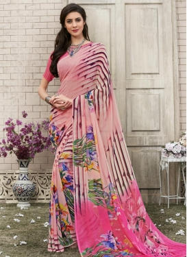 Hot Pink and Salmon Digital Print Work Contemporary Saree