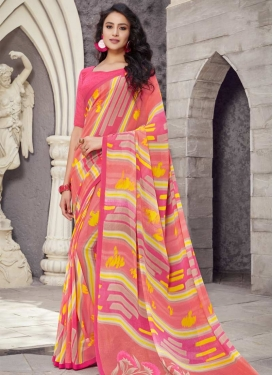 Hot Pink and Salmon Faux Georgette Designer Contemporary Style Saree