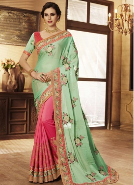 Hot Pink and Sea Green Jacquard Silk Designer Half N Half Saree
