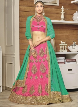 Hot Pink and Sea Green Net A Line Lehenga Choli