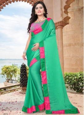 Hot Pink and Sea Green Satin Designer Contemporary Style Saree