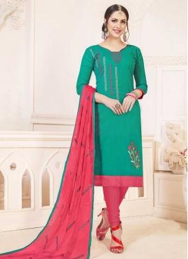 Hot Pink and Sea Green Trendy Churidar Salwar Kameez For Casual