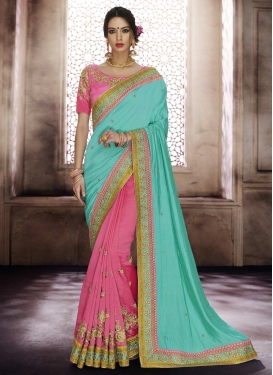 Hot Pink and Turquoise Embroidered Work Designer Half N Half Saree