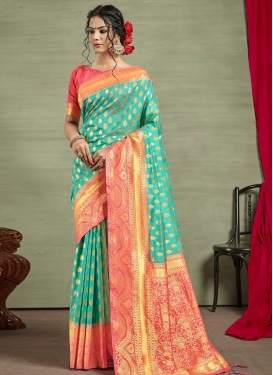 Hot Pink and Turquoise Thread Work Traditional Designer Saree