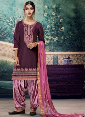 Hot Pink and Wine Embroidered Work Trendy Patiala Suit