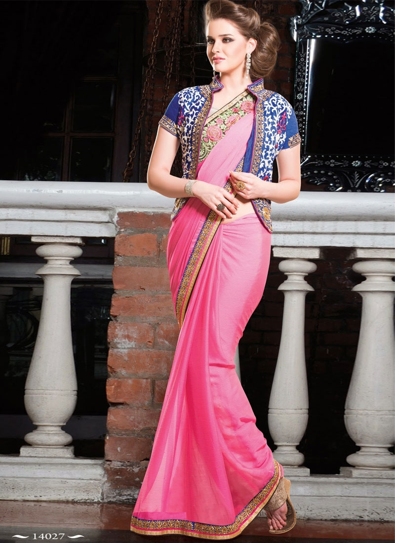 Hot Pink Color Resham And Lace Work Party Wear Saree