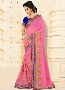 Hot Pink Net Contemporary Style Saree