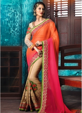 Hypnotic Beige and Orange  Half N Half Trendy Saree